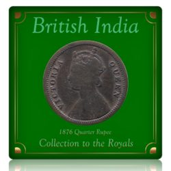 British India 1876  1/4 Quarter Rupee Queen Victoria  - RARE COIN
