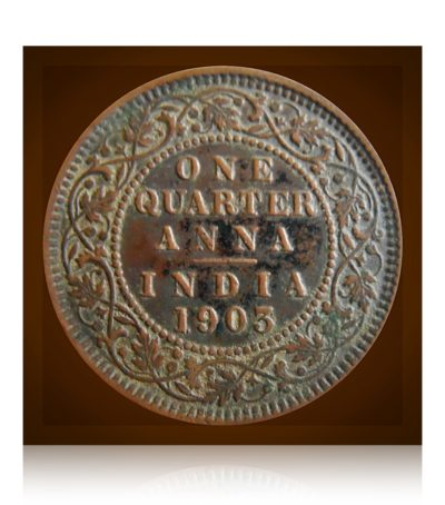 1903 British India 1/4 Quarter Anna King Edward VII Calcutta Mint - RARE