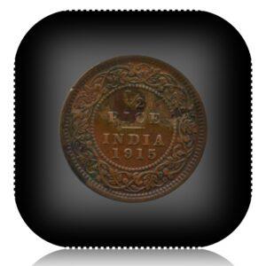 1915 1/2 Half Pice Coin British India King George V Emperor Calcutta Mint