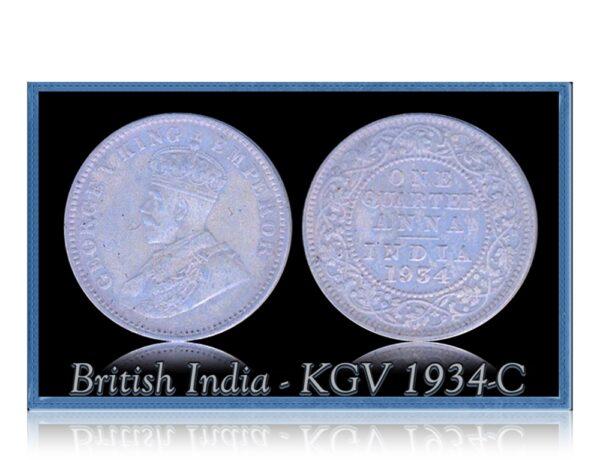 British India 1934 1/4 Quarter Anna King George V Calcutta Mint