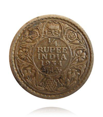 1934 1/4 Quarter Rupee British India Silver Coin King George V Emperor Calcutta Mint - RARE