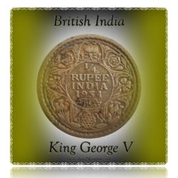 1934   1/4  Quarter Rupee British India Silver Coin  King George V Emperor Calcutta Mint - RARE