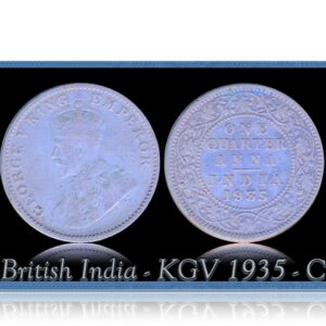 British India 1935 1/4 Quarter Anna King George V Calcutta Mint