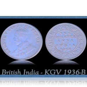 British India 1936 1/4 Quarter Anna King George V Bombay Mint