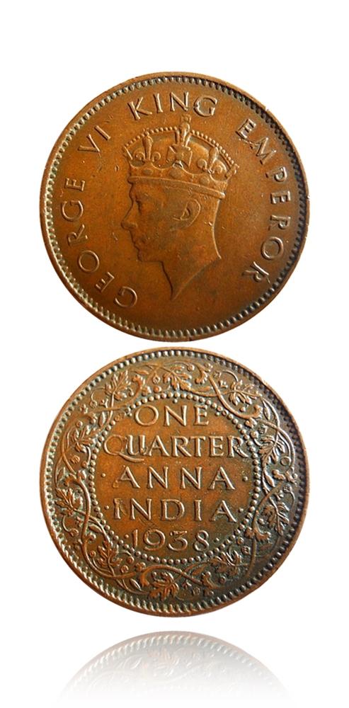1938 British India 1/4 Quarter Anna King George VI Bombay Mint - 2 Coins