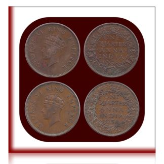 1938 British India 1/4 Quarter Anna King George VI  Bombay Mint - 2 Coins