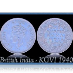 British India 1940  1/4 Quarter Anna King George VI Bombay Mint