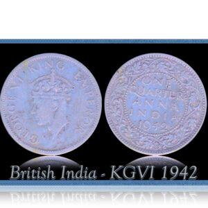 British India 1942 1/4 Quarter Anna King George VI Calcutta Mint