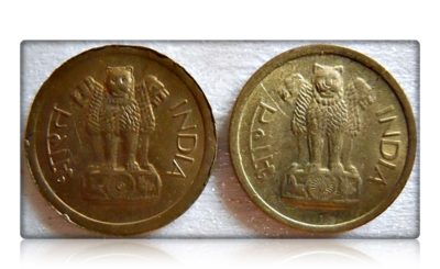 1964 Republic India 1 Paisa (Ek Paisa) Calcutta Mint - 2 Coins