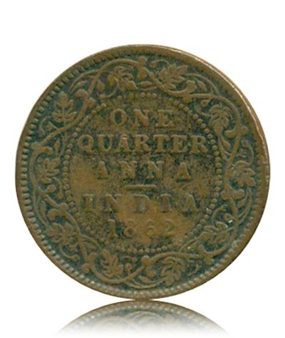 British India 1862  1/4  Quarter Anna  Queen Victoria Empress - RARE
