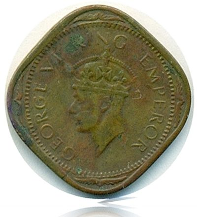 British India 1943 King George VI 2 Annas Bombay Mint - Worth Collecting