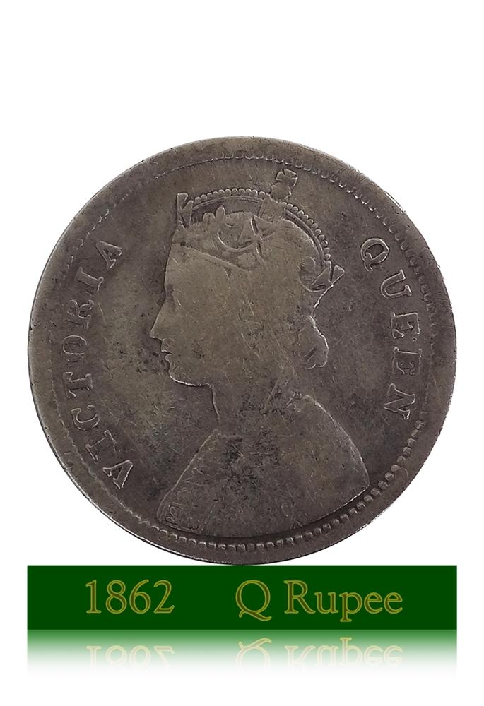 1862 British India 1/4 Quarter Rupee Queen Victoria - RARE COIN