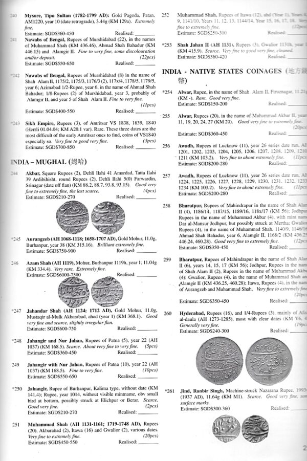 Singapore Coin & Bank note Auction Book