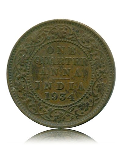 British India 1934  1/4 Quarter Anna King George V Calcutta Mint