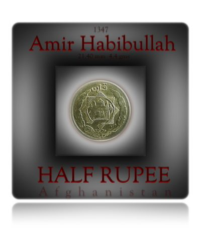 ½ Half Rupee Qiran - Amir Habibullah Silver coin - Worth collecting 1347 (1929) 21.40 mm 4.4 gms .500 silver