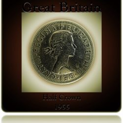 1955 Half crown Queen Elizabeth II Great Britain from United Kingdom Ground Collection