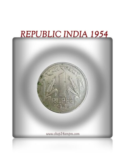 1954  Republic India  1 Rupee Coin Bombay Mint - Rare