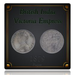 1879  1 One Rupee Silver Coin Queen Victoria Empress Bombay Mint - Rare
