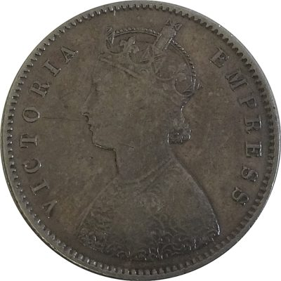 1896 1/2 Rupee British India Queen Victoria Calcutta Mint - Rare Coin