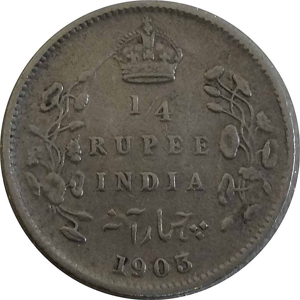 1903 British India King Edward VII  1/4 Rupee Silver Coin Calcutta mint - Rare