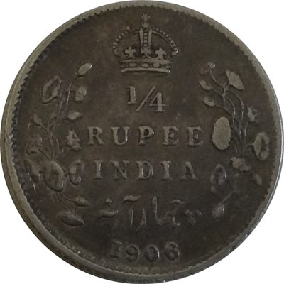 1906 British India King Edward VII  1/4 Rupee Coin - Calcutta mint - RARE