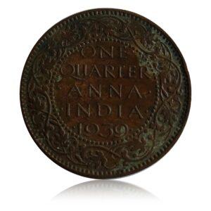 1939 British India 1/4 Anna George VI King & Emperor Calcutta Mint