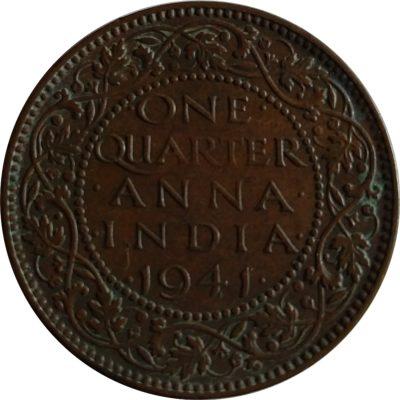 1941 British India 1/4 Anna George VI King & Emperor Calcutta Mint