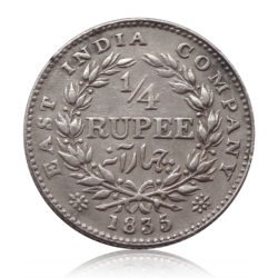 1835 British India King William III   1/4 Quarter Rupee Silver Coin - RARE