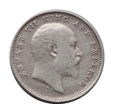 1904 British India King Edward VII 2 Annas Calcutta Mint-Rare Coin