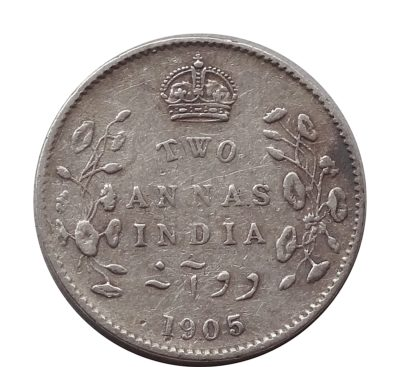 1905 British India King Edward VII 2 Annas Calcutta Mint - Rare Coin