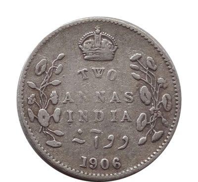 1906 British India King Edward VII 2 Annas Calcutta Mint - Rare Coin