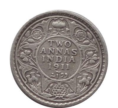 1911 British India King George V 2 Annas Silver Coin Calcutta Mint - Rare