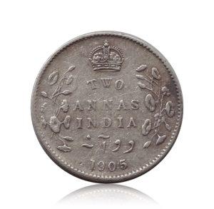 1905 British India King Edward VII 2 Annas Calcutta Mint - Rare Coin