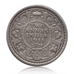 1911 British India King George V 2 Annas Silver Coin Calcutta Mint - Rare