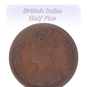 1862  1/2 Half Pice Coin British India Victoria Queen