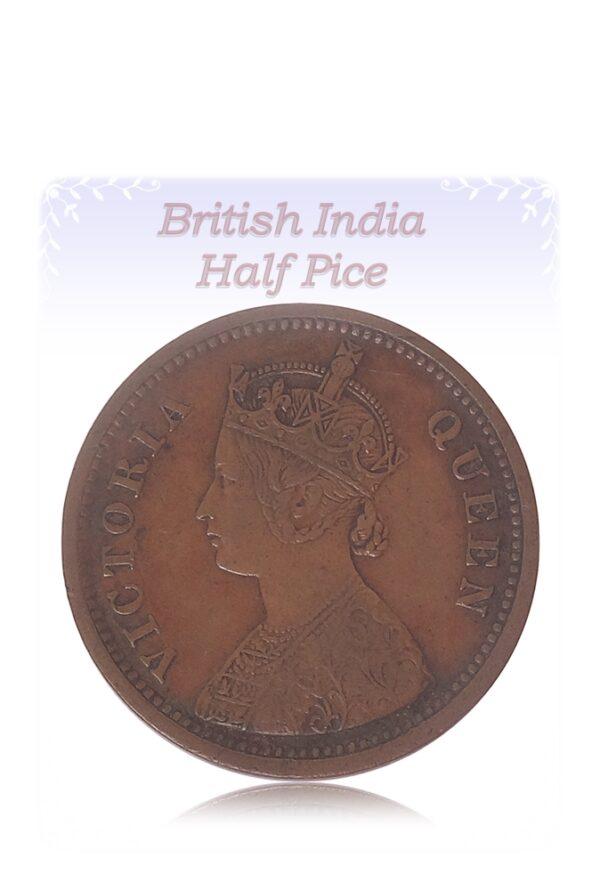 1862 1/2 Half Pice Coin British India Victoria Queen