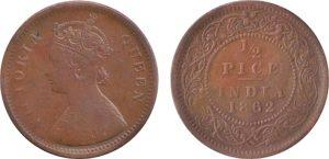 1862 1/2 Half Pice Coin British India Victoria Queen - RARE