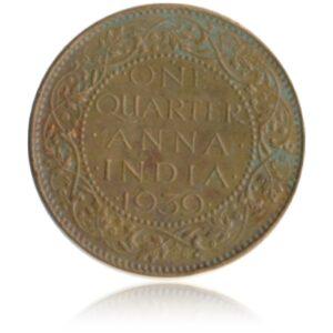 1939 1/4 Quarter Anna British India King George VI Bombay Mint