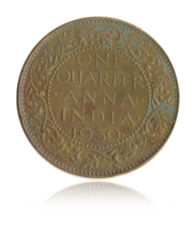 1939  1/4 Quarter Anna British India King George VI Bombay Mint