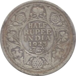 1923  1/2 Half Rupee Silver Coin British India King George V Calcutta Mint - RARE COIN