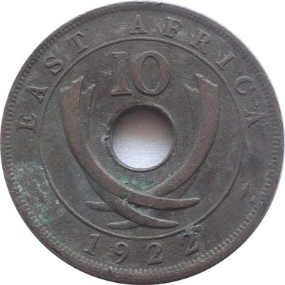 1922  10 cents Georgivs V Rex East Africa Coin - RARE