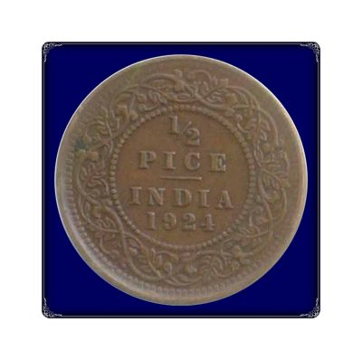 1924  1/2 Half Pice Coin British India King Goegre V Calcutta Mint - Best Buy