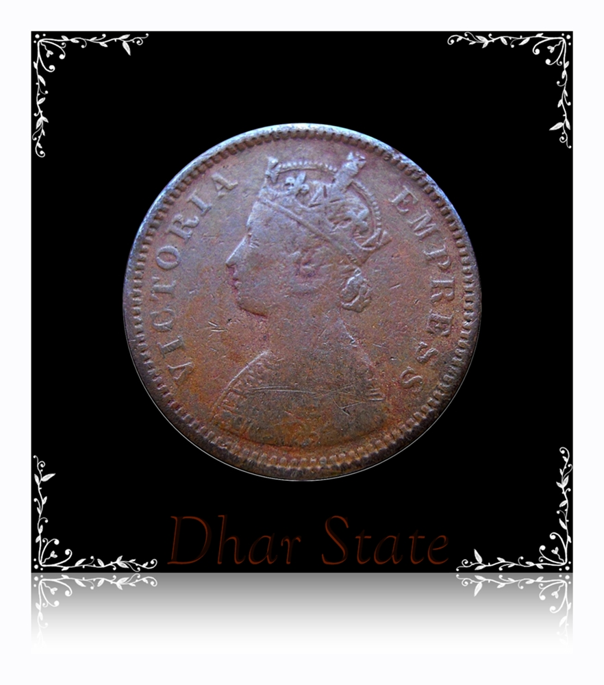 1887  1/2 Half Pice Dhara State Coin British India Queen Victoria Empress - RARE COIN