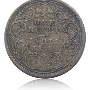 1878  1 Rupee Coin British India Queen Victoria Empress  - OTHER METAL COIN -RAREST - DIE PRINT ORIGINAL (NON SILVER ) - GOLD IN COLOUR