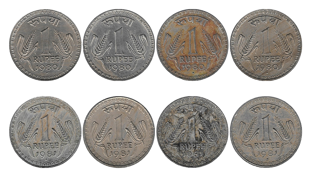 1980 1981 1 Rupee Coin Republic india Bombay mint - 8 Coins