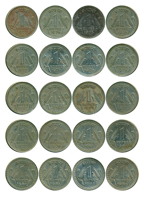 1976 1977 1981 1 Rupee Coin Big Dabu Republic India Bombay Mint - 20 Coins set