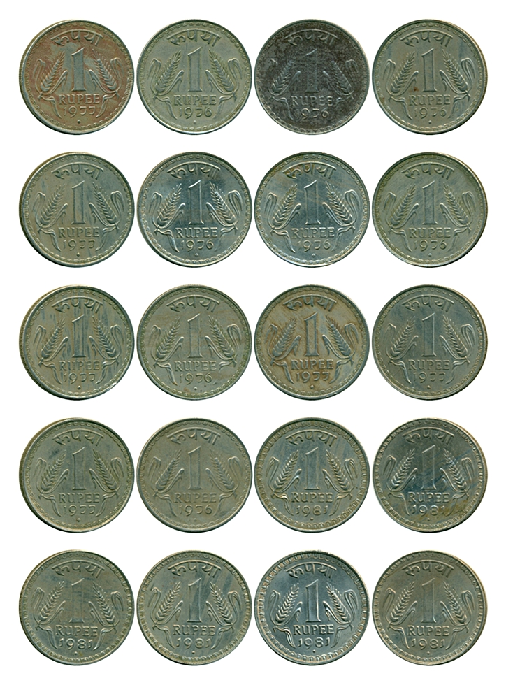 1976 1977 1981 1 Rupee Coin Big Dabu Republic India Bombay Mint - 20 Coins set