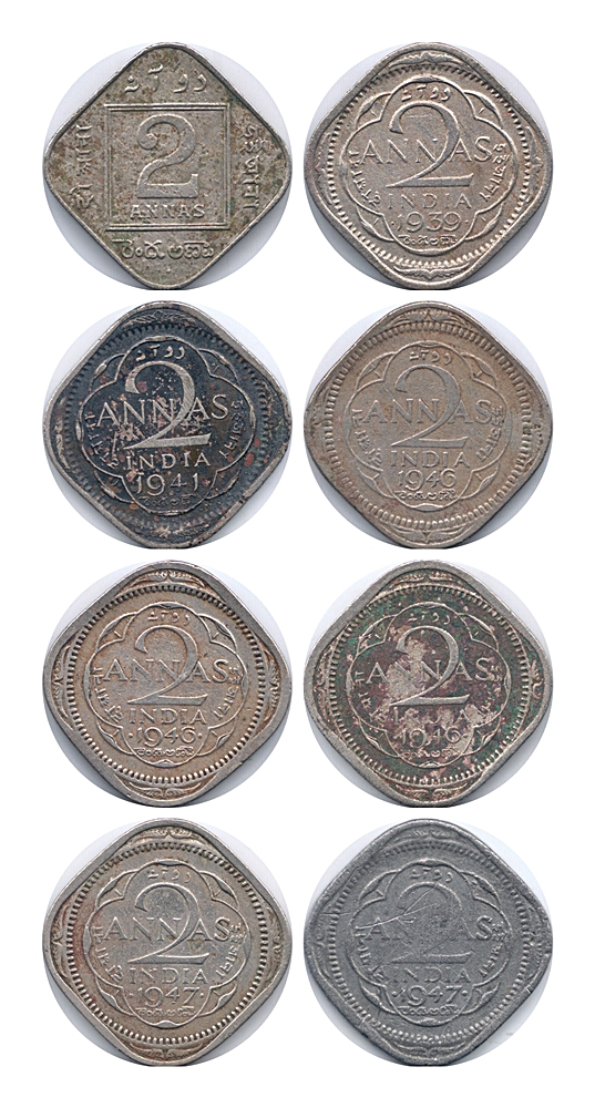 1936 1939 1941 1946 1947 2 Annas Coin British India King George V & VI - UGET - 8 Coins