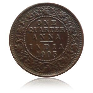 1903 1/4 Quarter Coin British India King Edward VII Calcutta Mint - RARE