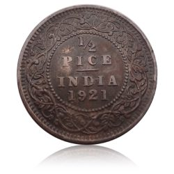 1921 1/2 Half Pice Coin King George V Calcutta Mint - RARE
